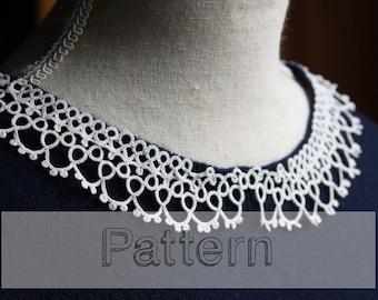 Collar tatting pattern for shuttle tatting or needle tating  sweater collar  frivolite frivolity tatted lace tutorial