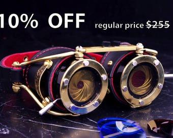 Steampunk Goggles Dual Iris aperture Victorian Goth Brass Black LARP Cosplay engraved
