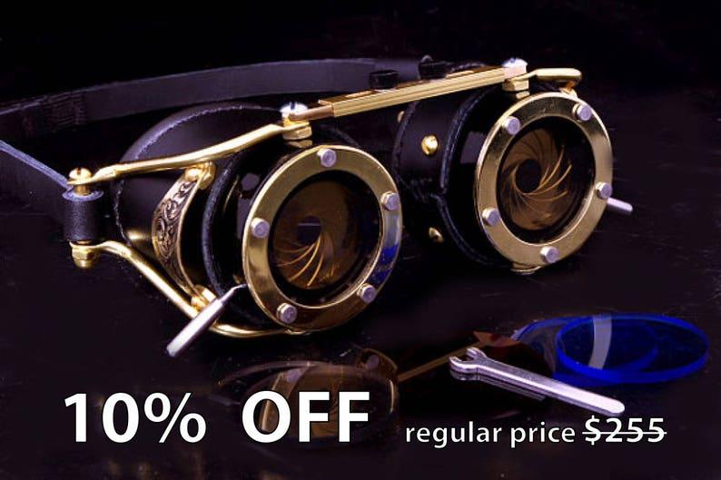 a610e9fe1148 Steampunk Goggles Dual Iris aperture Victorian Goth Brass All