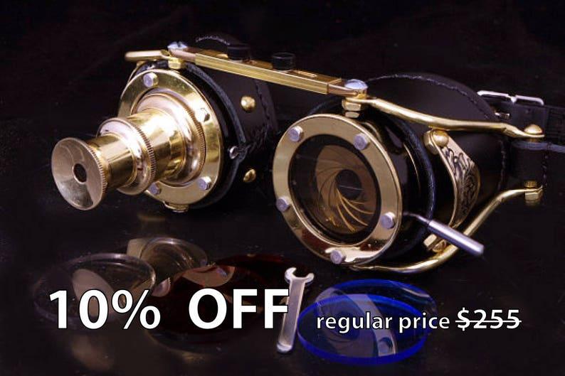 0e230783f994 Steampunk Telescope Iris Aperture Engrave Goggles Goth