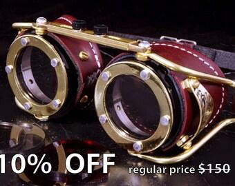 Steampunk Goggles Victorian Goth Brass Brown LARP Cosplay