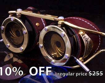 Steampunk Goggles Dual Iris aperture Victorian Goth Brass Brown LARP Cosplay Engraved