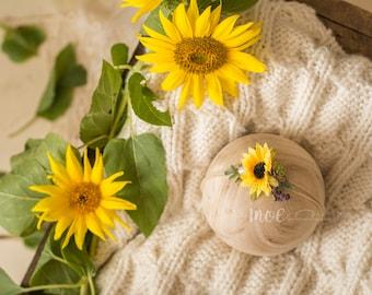 Sunflower Tieback - dainty floral headband - Succulent Tieback