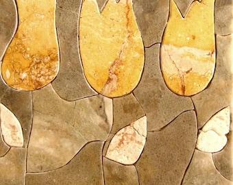 Yellow Tulips Stone Art- Pietra Dura