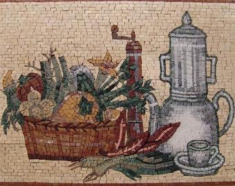 Mosaic Kitchen Backsplash- Tea Time