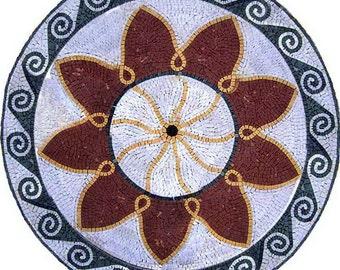 Round Flower Mosaic - Firewheel