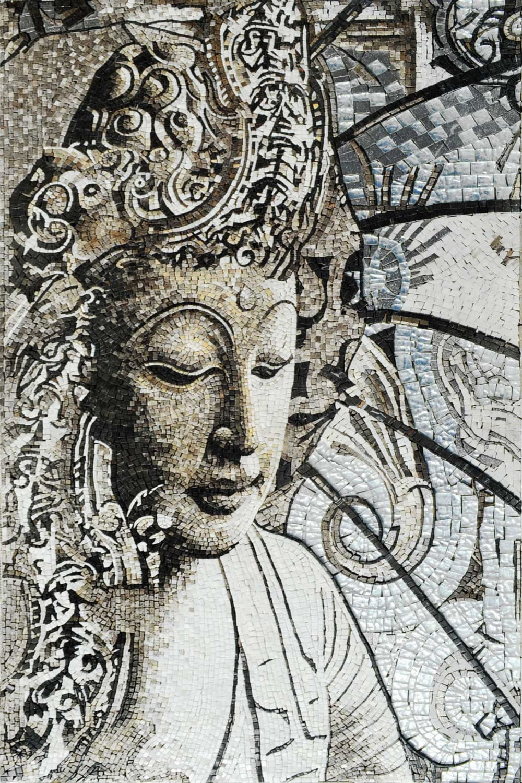 Mosaic Indian Goddess Tara Marble Stone Mural Artwork Design for Wall  Decoration - MS513