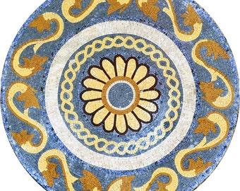 Round Roman Flower Mosaic - Caius