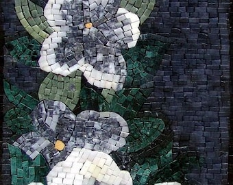 Anémone à fleurs fait main mosaïque Art