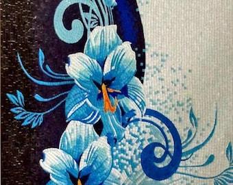 Flower Mosaic Art -Blue Iris