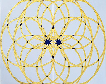 Geometric Arabesque WaterJet Inlay with Real Gold Mosaic Art Tile Insert