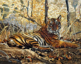 Charming Tiger in the Forest Scene Mosaic Marble