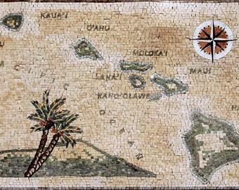 Hawaiian Islands Mosaic Marble