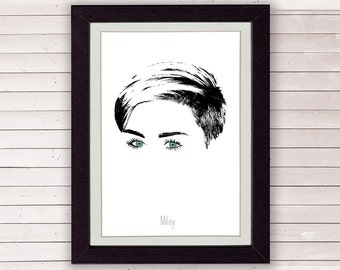 Miley Cyrus, minimal portrait, miley cyrus poster 8x10 or A4, LIMITED EDITION FOR 35