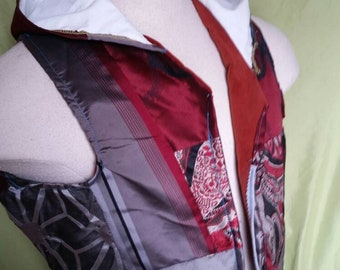 Red Hooded Patchwork Vest sz M