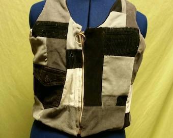 Black and white Corduroy Patchwork Vest sz XS