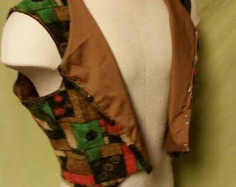 Brown Patterned Vest sz M/L