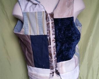 Mens Hooded Patchwork Vest size XL / XXL