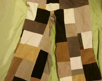 Brown Corduroy Patchwork Pants sz 32
