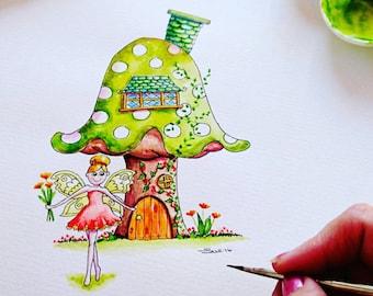 Toadstool Print Custom Fairy watercolour wall art Room decor Nursery Fairy decor Wall Art Nursery Print Green  Little girls