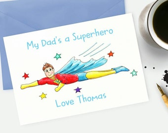 Superhero Card fathers day card Daddy card Dad's hero card Watercolour Art Superman card Birthday Card Custom  personalised card