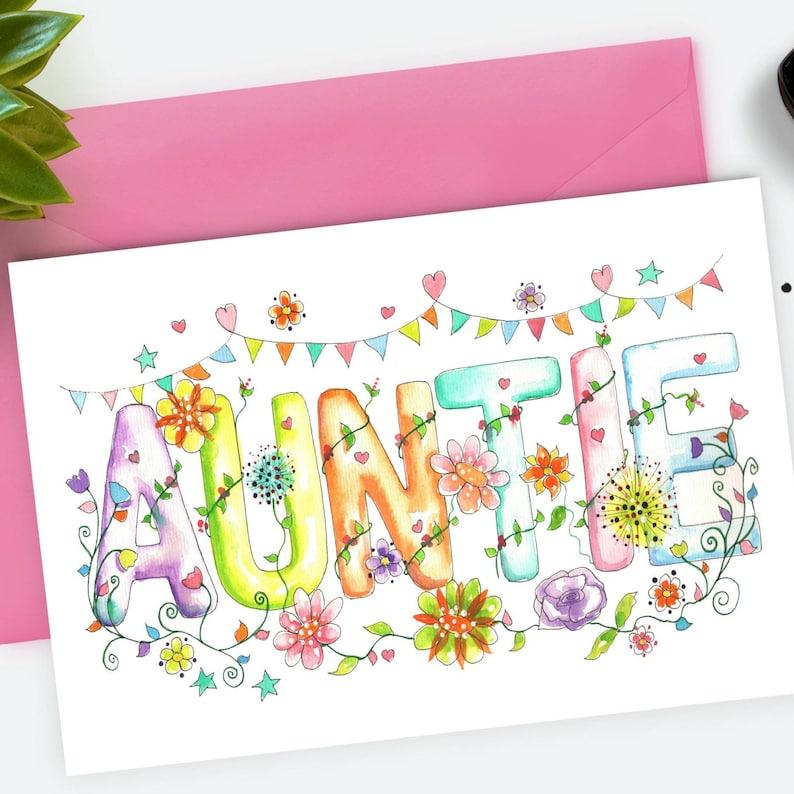 Auntie Card Watercolour Art Birthday Sister