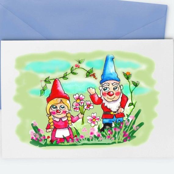 Gnome Card Watercolour Artist Birthday Card Greetings Card Etsy