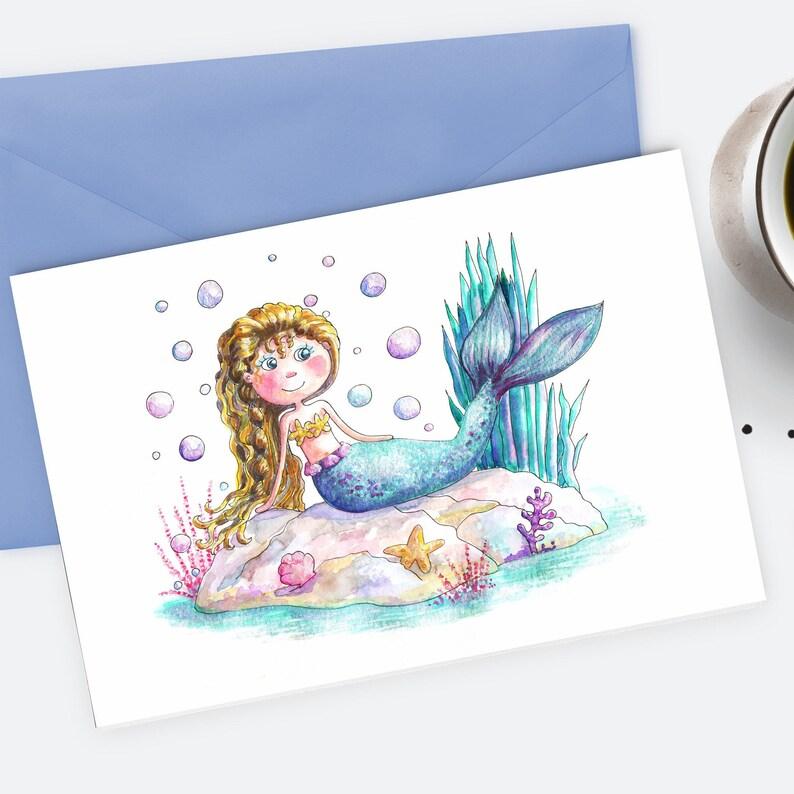 Mermaid Card Downloadable PDF Printable