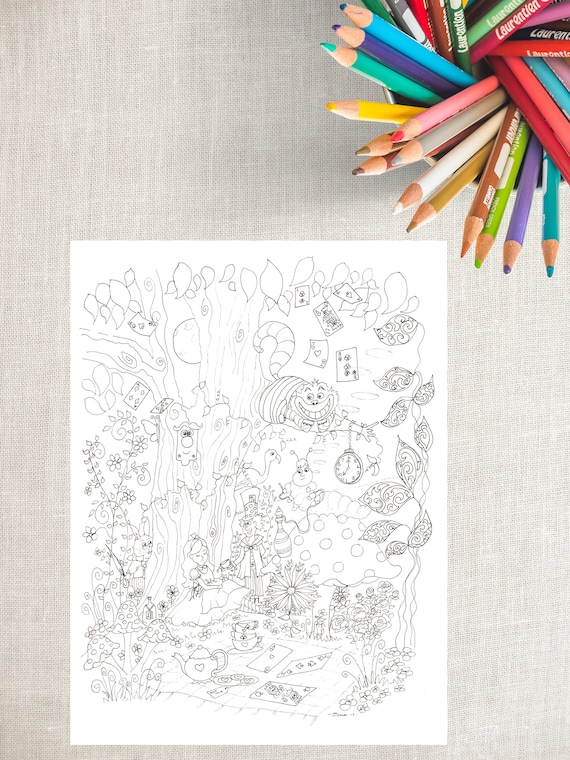 PDF Printable Coloring Pages Alice In Wonderland Colouring Etsy