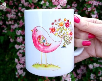 Bird Coffee Mug Handmade Art Pink Bird mug Exotic Flower Mug