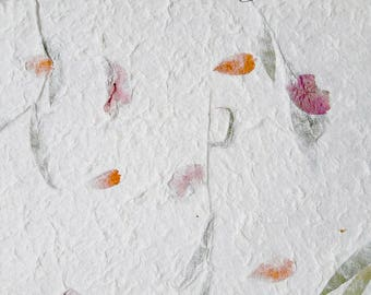 10 sheets A4 Natural Dried Fiber Mulberry Paper Pressed Leavse and Flowers Handmade for scrapbooking, flower making, card making, invitation