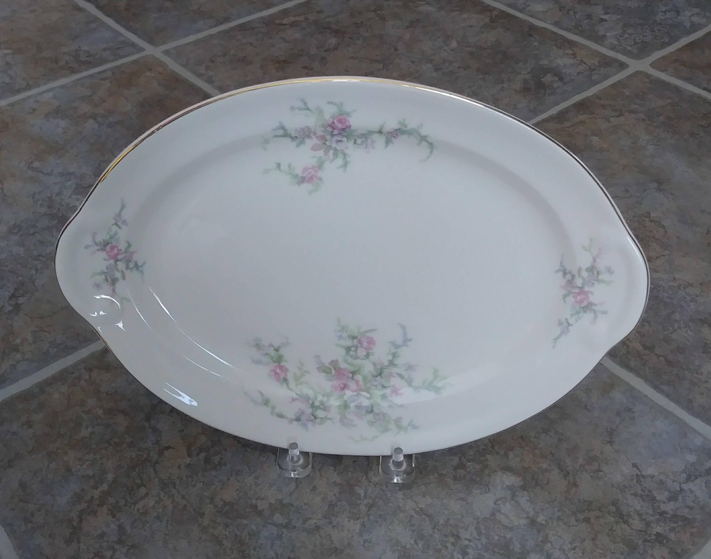 Taylor Smith Platter Cream Platter Meat Platter Moss Rose | Etsy