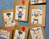 Set of 5 handmade cards, plus 2 gift tags
