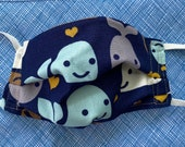 Younger children's washable fabric masks. Size small, with an adjustable wired nose section for a custom fit.