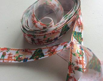 Christmas ribbon tape 6 m x 25 mm , trees, elves, reindeer etc ,green and red AP7 ., Freepost   U.K