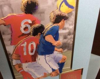 Hand made greeting card, Man of the match , football   , A6 card , blank , Freepost uk