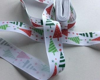 Christmas ribbon tape 4 m x 25 mm ,  Christmas trees green and red AP5   Freepost  U.K