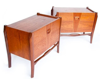 1950s Pair Nightstands Mid Century Modern Scandinavian Design, Vintage  Bedside Table, Cabinet, Bedroom Furniture, End Tables