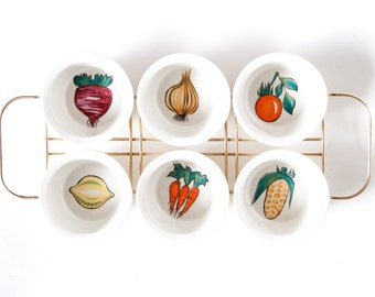 Villeroy and Boch Luxembourg Primabella Mid Century Modern 1960's Serving Tray / Snack Tray / Serving Dishes Vegetables Print