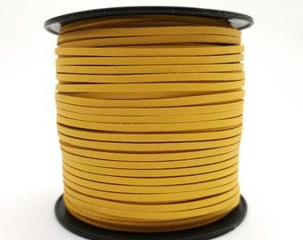 10mm Flat Leather Strip Yellow 10mmx2mm Genuine Leather Strap WatchBand GF10M-104