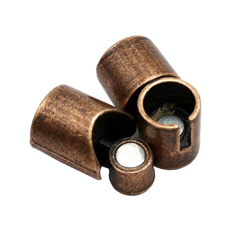 3 Pieces Bracelet Clasps and Closure Magnetic End 8mm Copper Antique Round Hole MT8M516-6