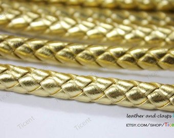 8mm Diameter Gold Braided Leather Strap 8mm PU Faux Leather for Bracelet Jewelry Making-1 Yard RLG8M-68
