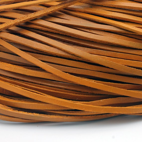 Color Coated Genuine Leather Strip GF34M218 2 Yards 3mm Distressed Dark Brown Flat Leather