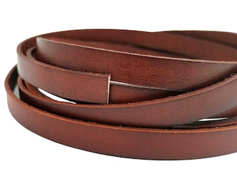 10mmx2mm Distressed Red Brown Leather Cord 10mm Flat Leather Bracelet Strip by Yard GF10M-131