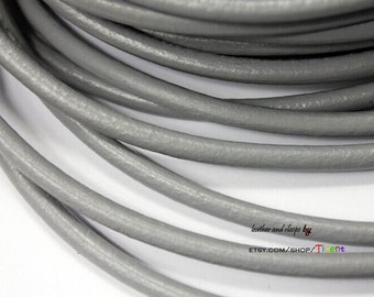5mm Diameter Gray Genuine Leather Cords,5mm Round Real Cowhide Leather 1 Yard RLG5M-253