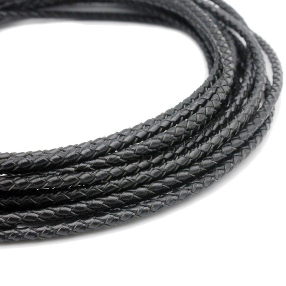 Genuine Round Bolo Braided Leather Cord 3mm 3 Feet Jewelry Premium Leather