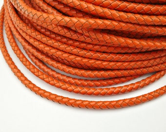 5mm Orange Color Round Jewelry Making Leatherworking Genuine Bolo Leather, Orange Braided Bolo Leather Strap-1 Yard, BP5M-59