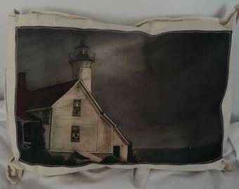 Lighthouse storm Pillow