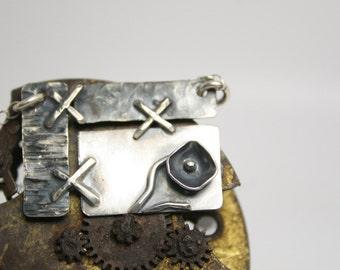 Statement Necklace - Silver - Handmade - Flower