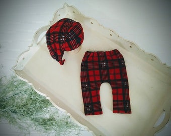 New Handmade Tan with Red Plaid Lining Baby Boy Hat